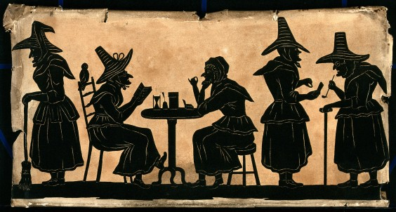 V0048920 Witches: five silhouetted figures.