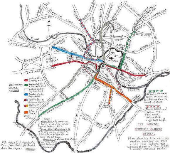 Norwich Tramway (Map - Plunkett)