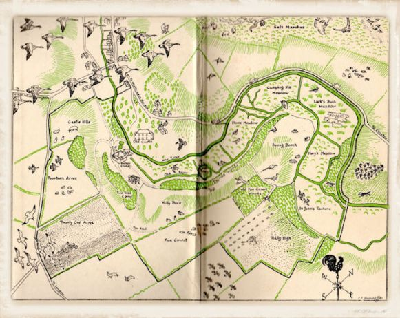 2_map of the farm on the endpapers of The Story of a Norfolk Farm, drawn by C. F. Tunnicliffe.jpg2