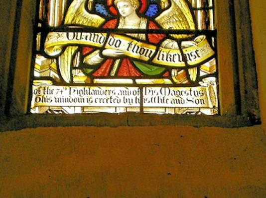 Memorial window to Major Edwards in St George's Church, Hardingham.