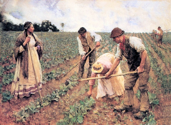 Agricultural Gangs (Hoeing Turnips Painting by George Clausen_Public Domain)