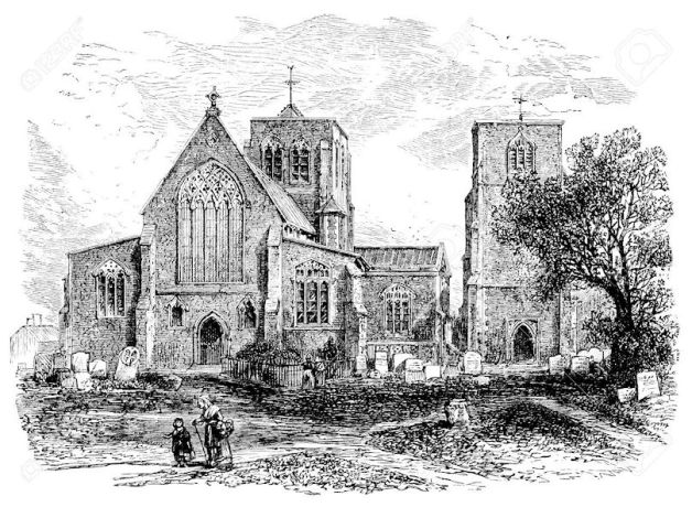 Thomas Borrow (19th-century-engraving-of-dereham-church)